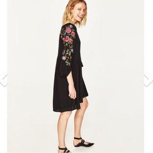 NWT Zara Embroidered Babydoll Dress Size S